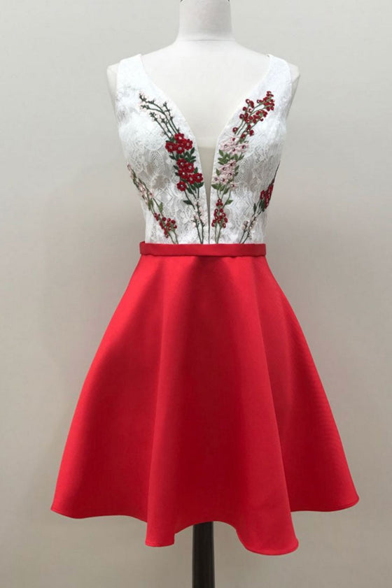Red v neck lace applique short prom dress, cute red homecoming dress