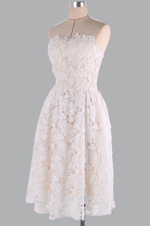 Champagne lace short prom dress lace homecoming dress