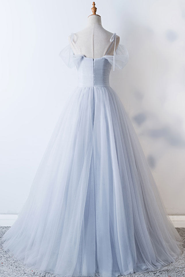 Gray sweetheart tulle long prom dress, gray evening dress