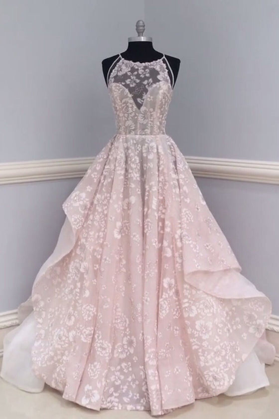Pretty round neck lace long prom dress, wedding dress