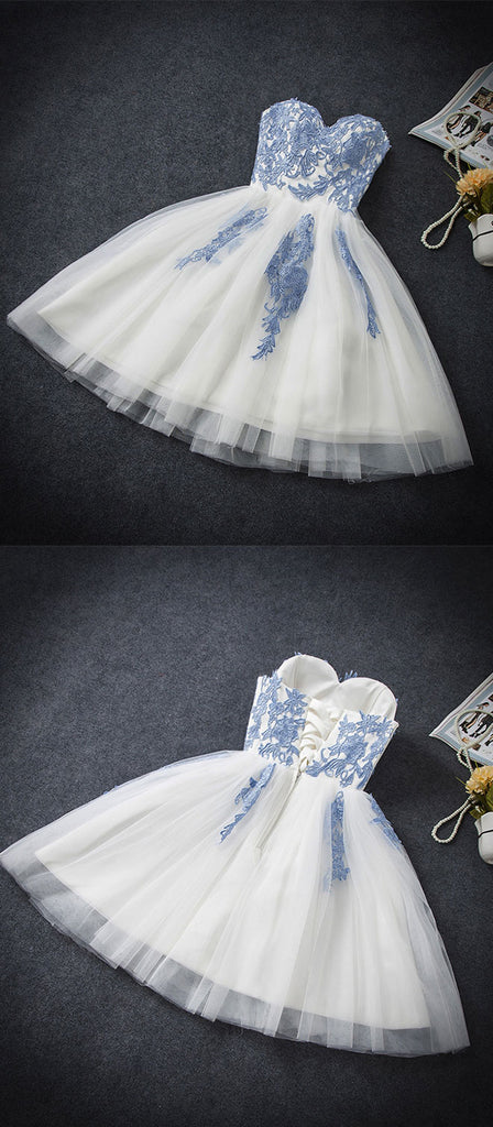 Blue sweetheart neck tulle short prom dress, blue homecoming dress