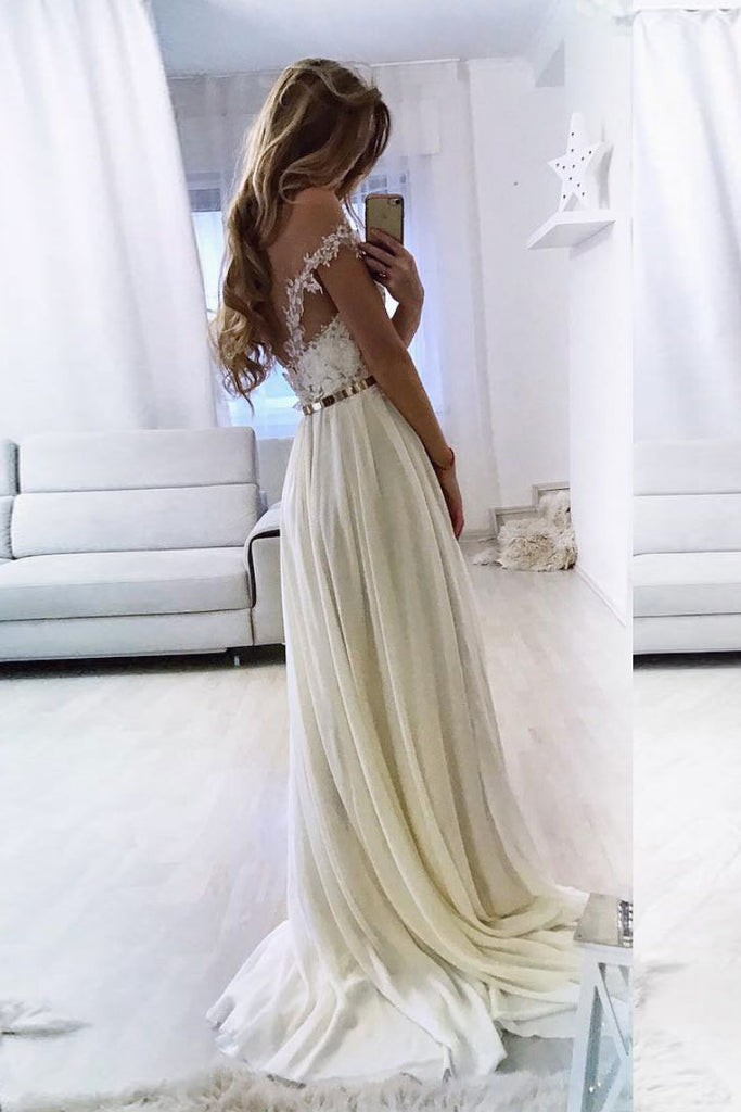 White sweetheart off shoulder lace chiffon long prom dress evening dress