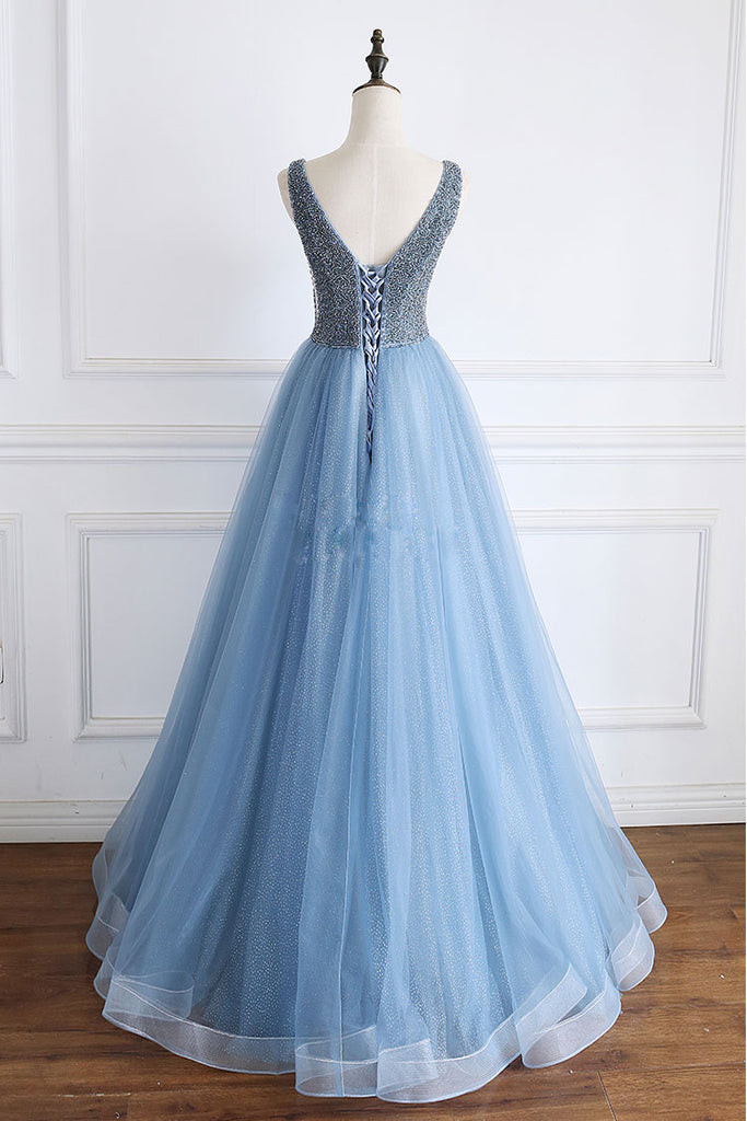 Blue v neck beads sequin tulle long prom dress, blue evening dress