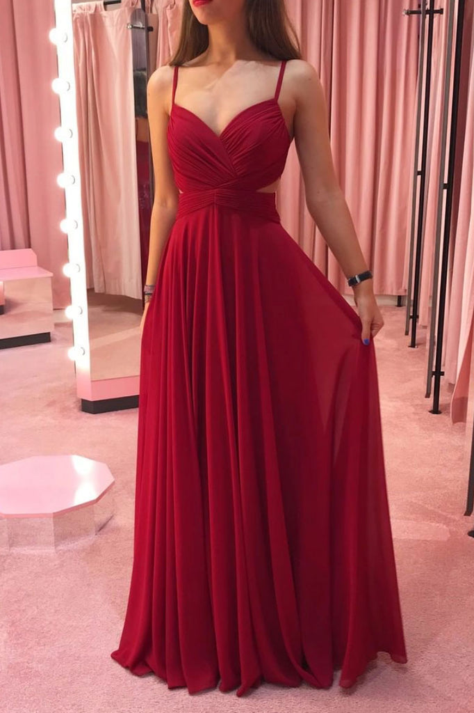 Simple burgundy chiffon long prom dress burgundy evening dress