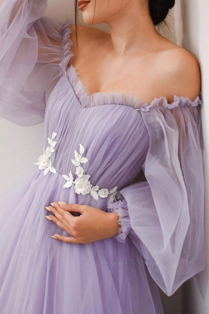Purple tulle long prom dress purple tulle formal dress