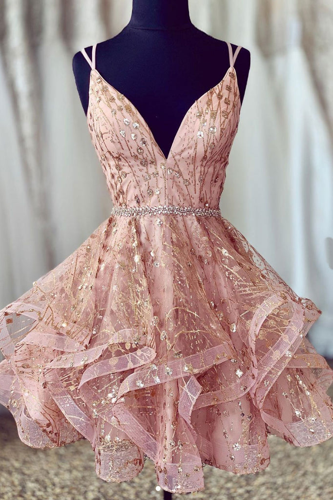 Unique pink tulle short prom dress, pink tulle homecoming dress
