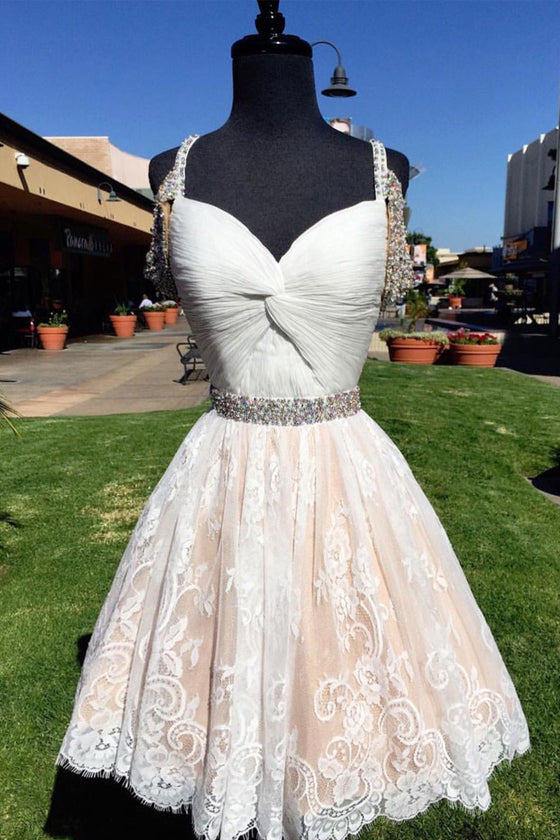 Cute white lace short prom dress, cute white homecoming dress