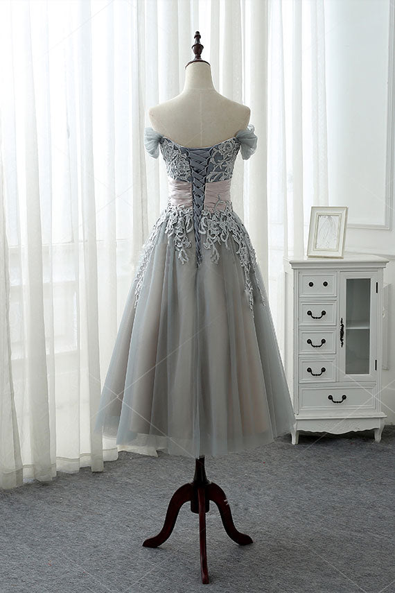 Gray lace tulle prom dress, gray lace evening dress