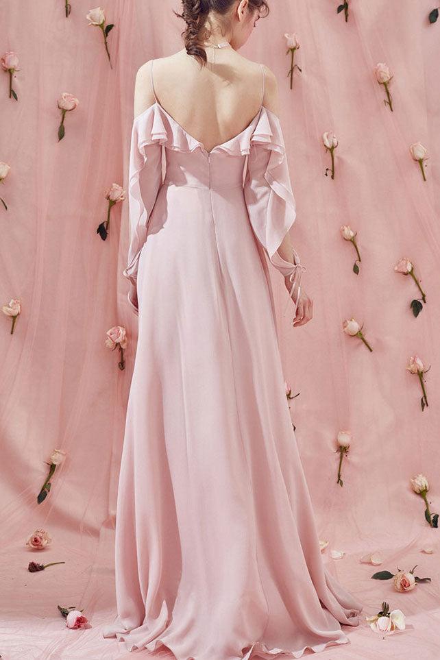 Simple pink chiffon long prom dress pink formal dress