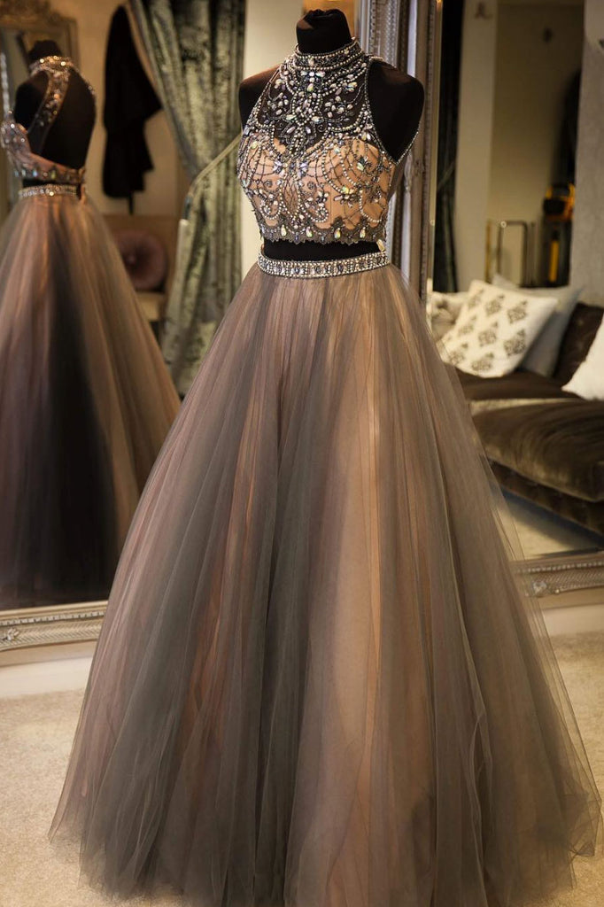 Gray high neck tulle lace long prom dress, gray evening dress
