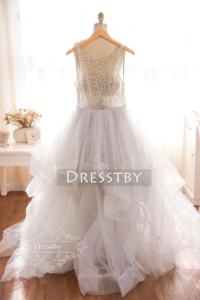 Unique round neck tulle beaded light gray long prom dress, gray evening dress