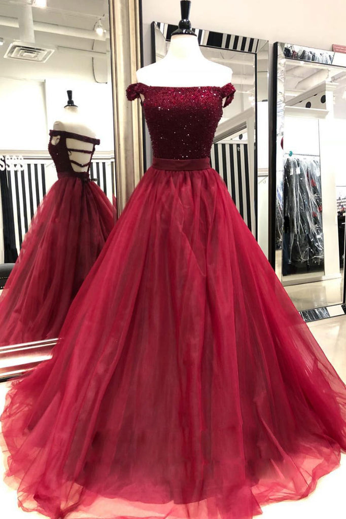 Burgundy sequin beads tulle long prom dress, burgundy tulle evening dress