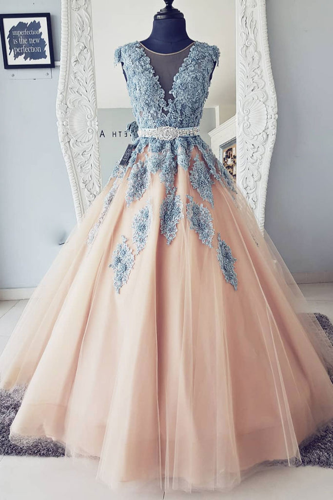 Champagne round neck tulle lace long prom dress, tulle evening dress