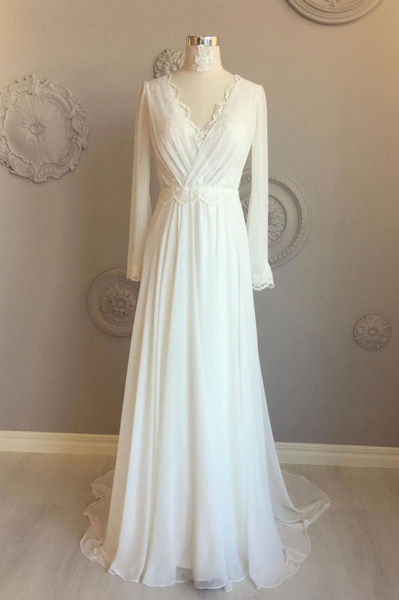 White chiffon v neck long prom dress, white evening dress