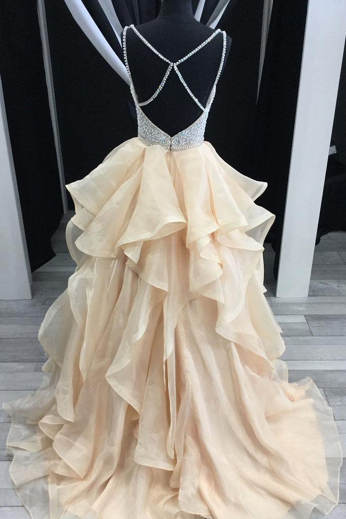 Champagne sweetheart beads tulle long prom dress, evening dress