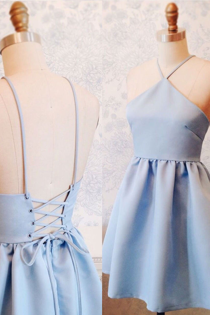 Simple blue backless short prom dress, blue homecoming dress