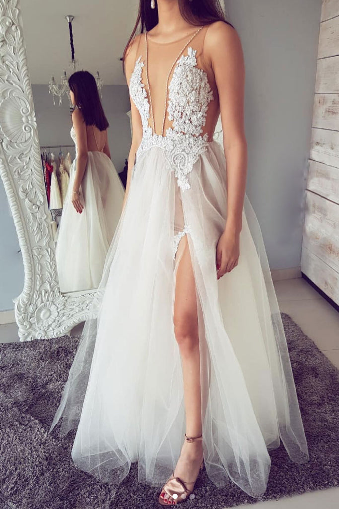 White round neck tulle lace long prom dress, lace long evening dress