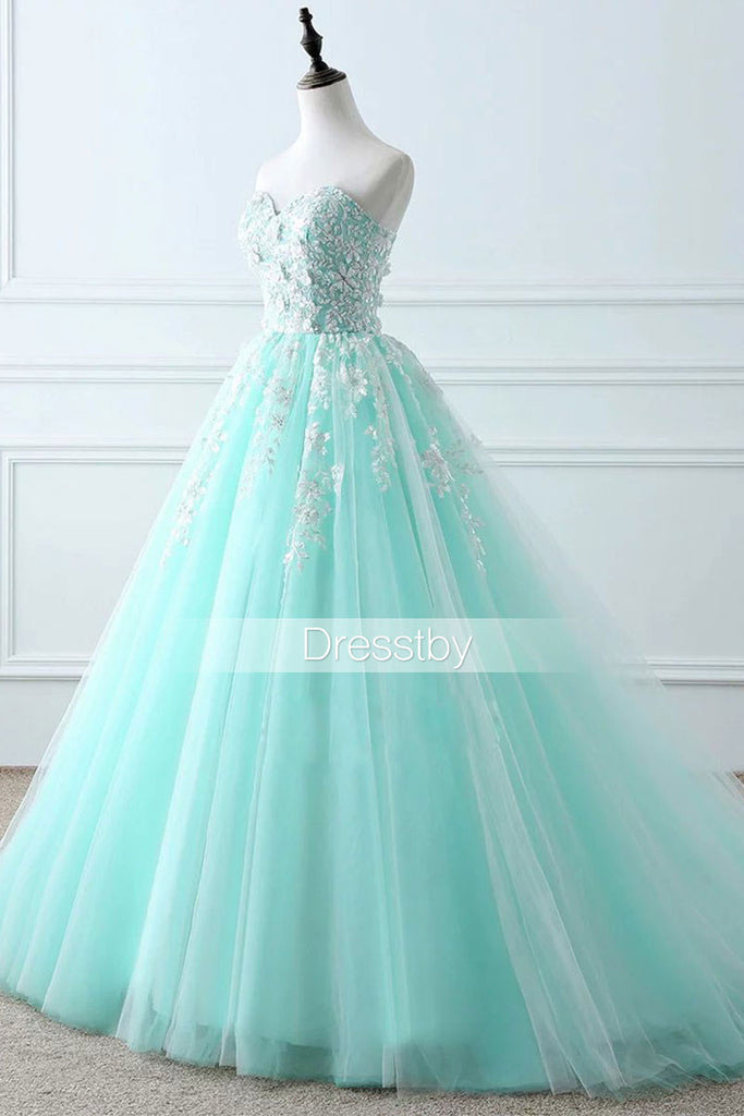 Green Sweetheart tulle lace long prom dress, evening dress
