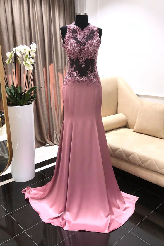 Pink satin lace applique long prom dress, lace pink evening dress