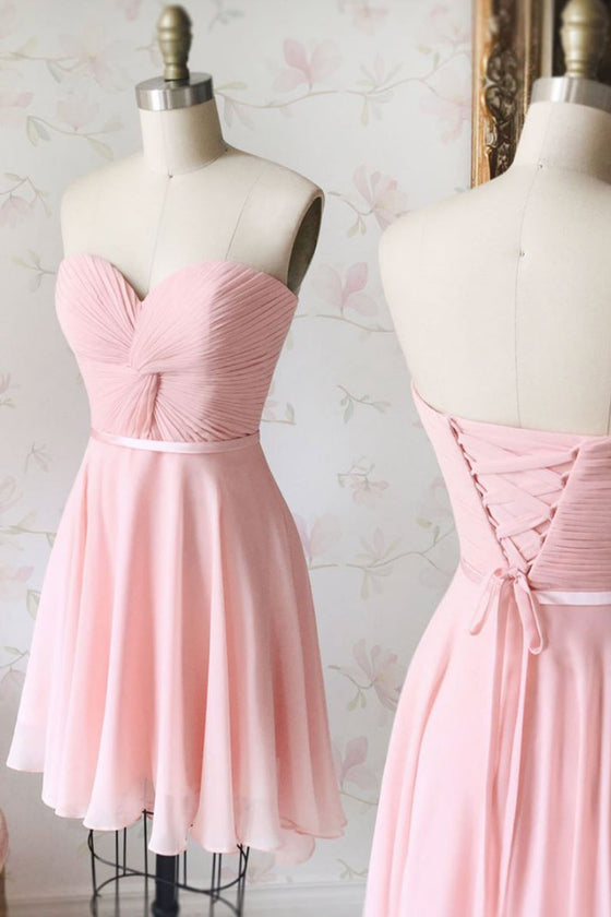 Simple sweetheart neck chiffon pink short prom dress, pink bridesmaid dress