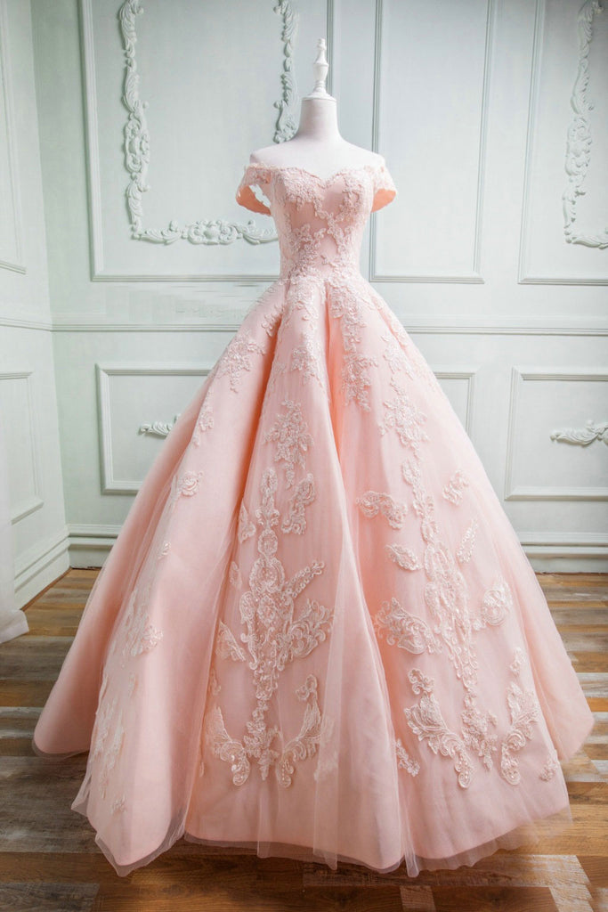 Pink sweetheart tulle lace long prom gown, pink lace formal dress