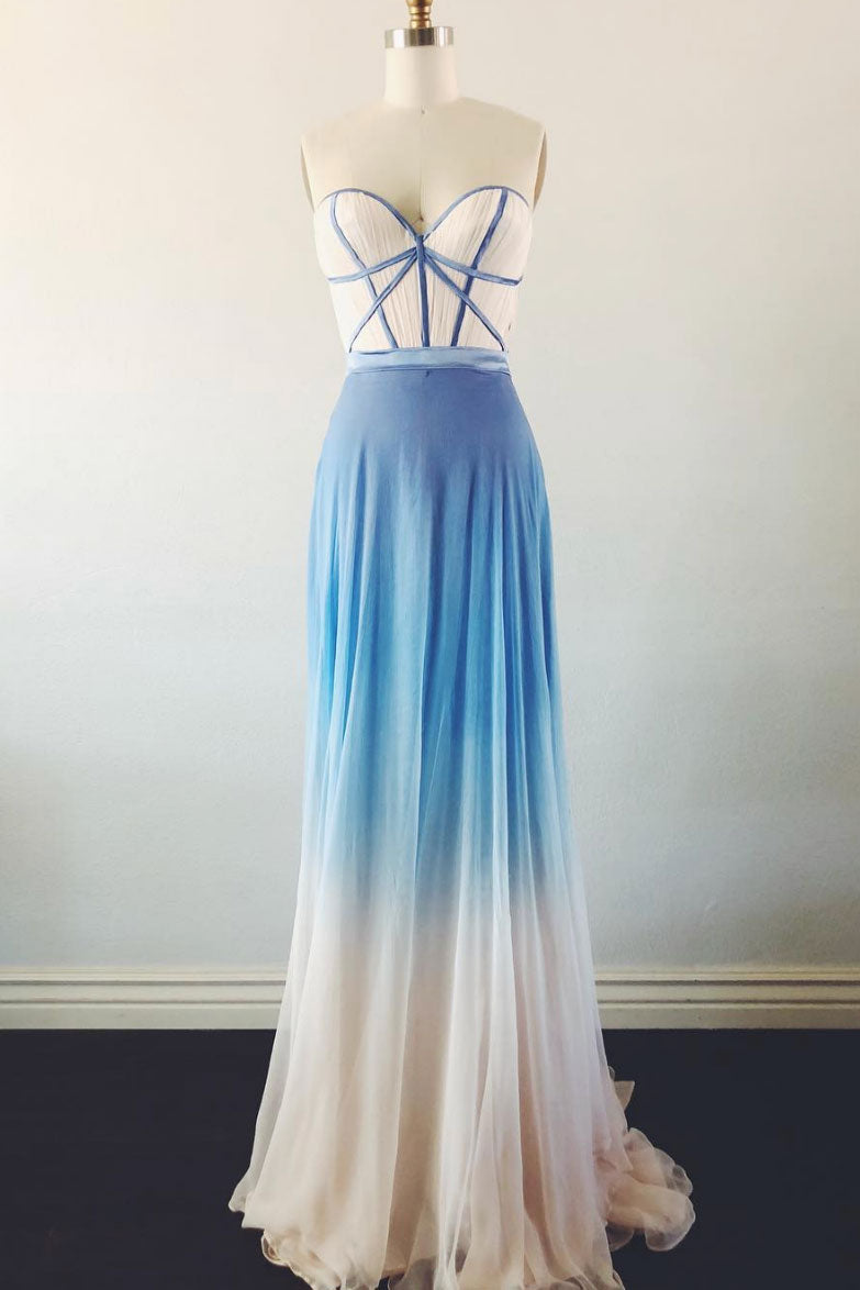 Simple sweetheart neck blue long prom dress. blue evening dress
