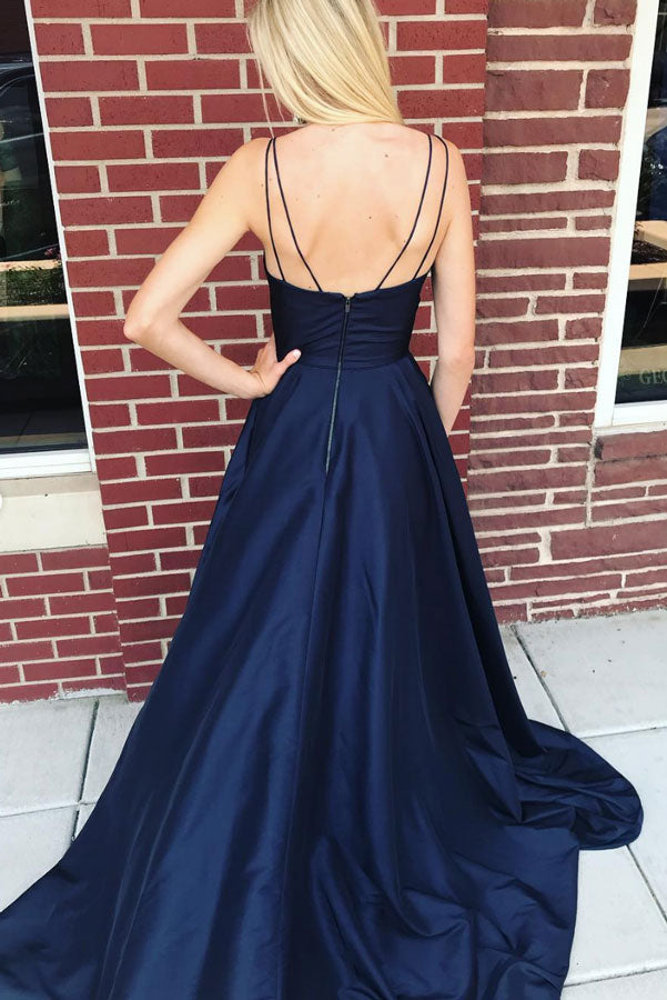 Dark blue v neck satin long prom dress, blue evening dress