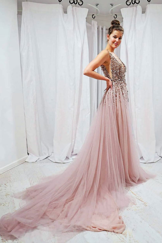 Pink v neck sequin beads long prom dress, pink evening dress