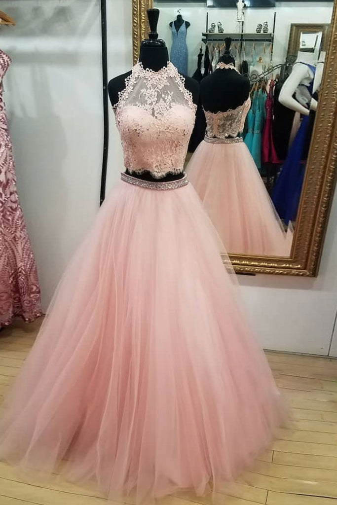 Pink tulle two pieces lace long prom dress, pink tulle evening dress
