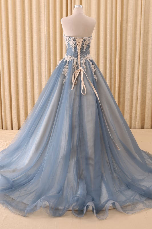 Blue sweetheart neck lace tulle long prom dress, blue tulle evening dress