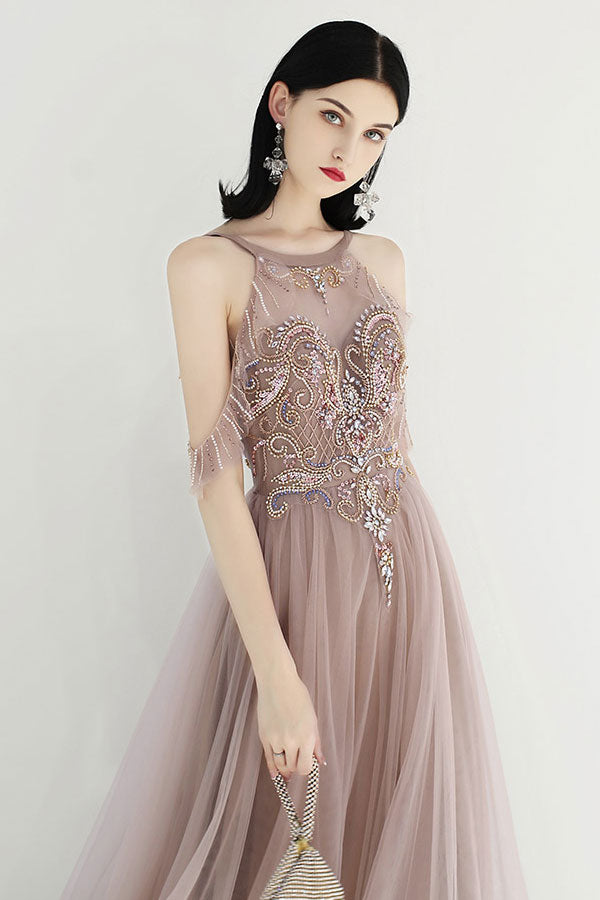 Champagne tulle sequin beads long prom dress tulle evening dress