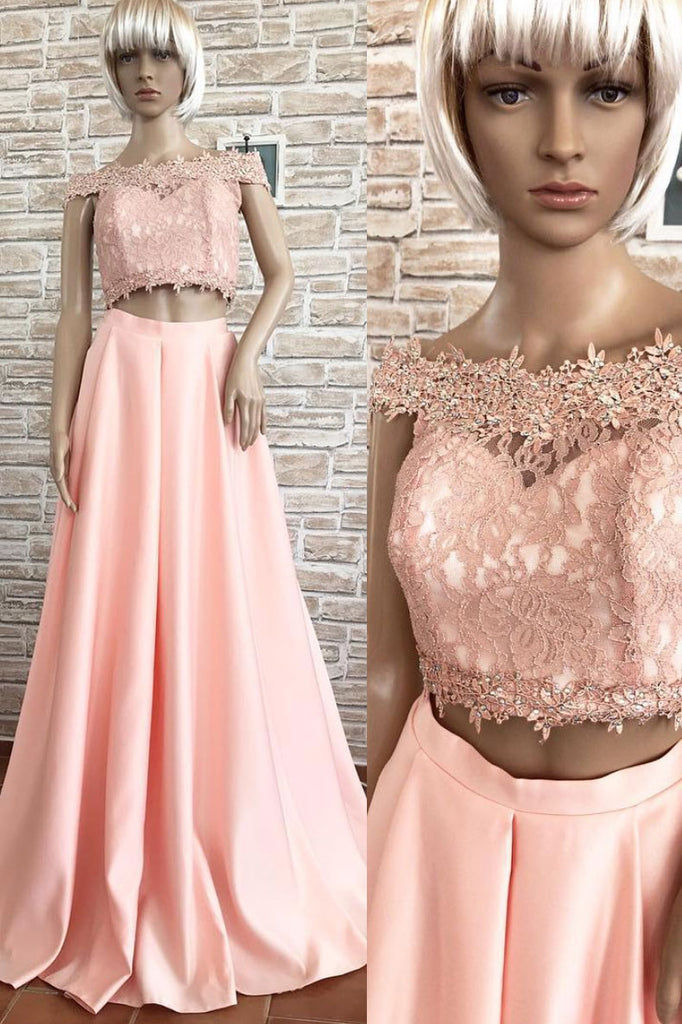 Pink off shoulder lace two pieces long prom dress, lace evening dress