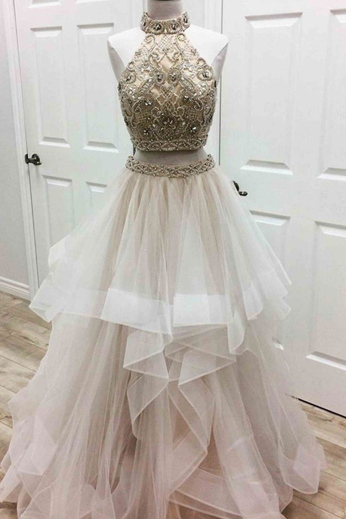Unique two pieces tulle beads long prom dress, tulle evening dress