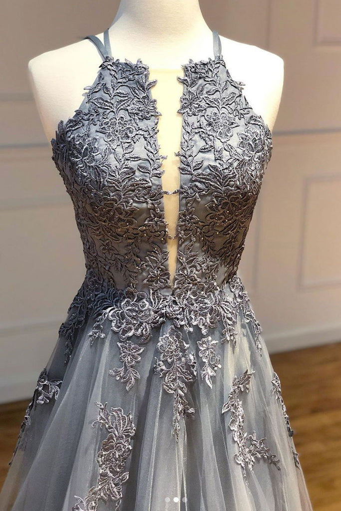 Gray tulle lace long prom dress gray tulle evening dress