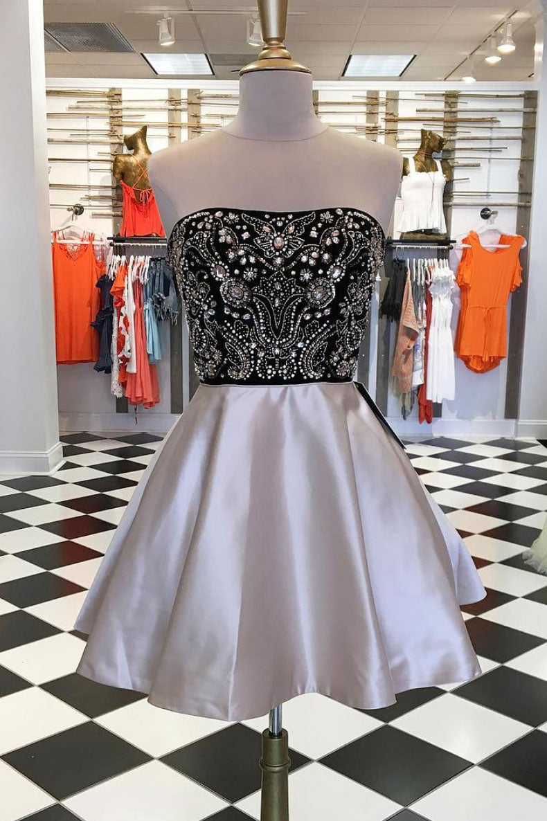 Champagne sequin beads short prom dress, homecoming dress