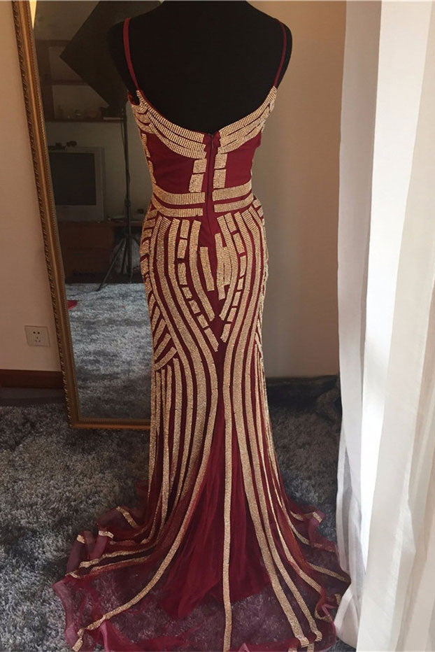unique burgundy beads mermaid long prom dress, evening dress
