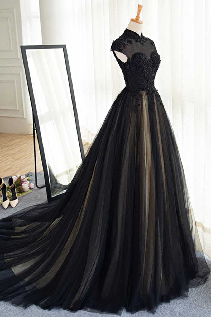 Black tulle lace long prom dress, black tulle evening dress - dresstby