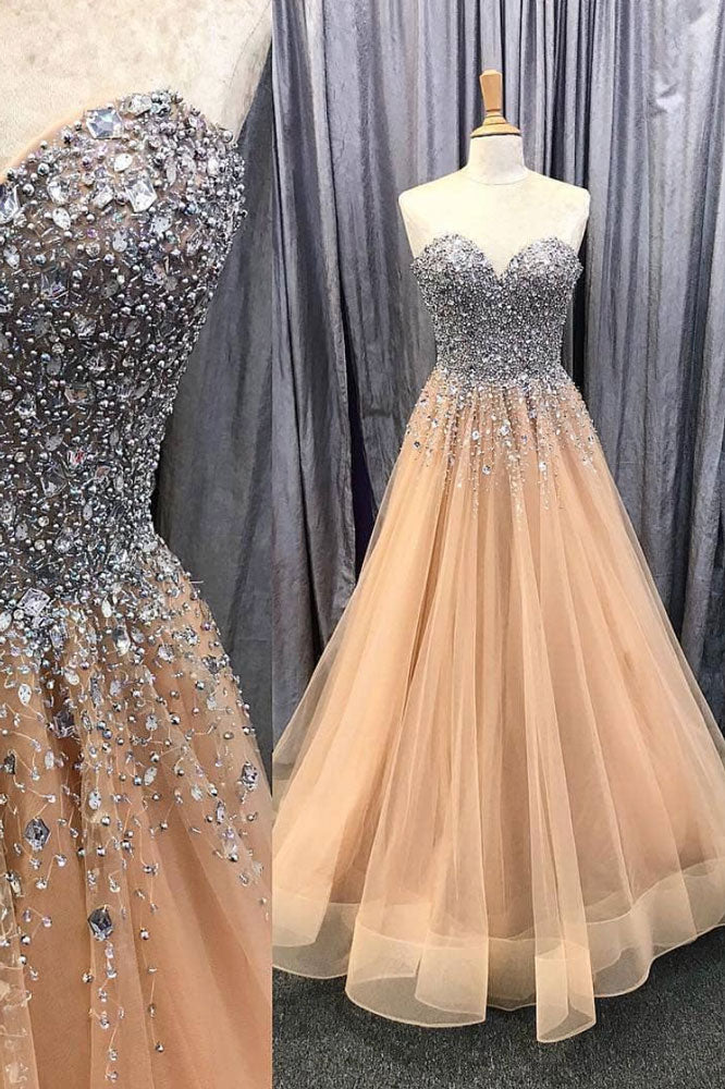 Champagne sweetheart neck tulle beads long prom dress, evening dress