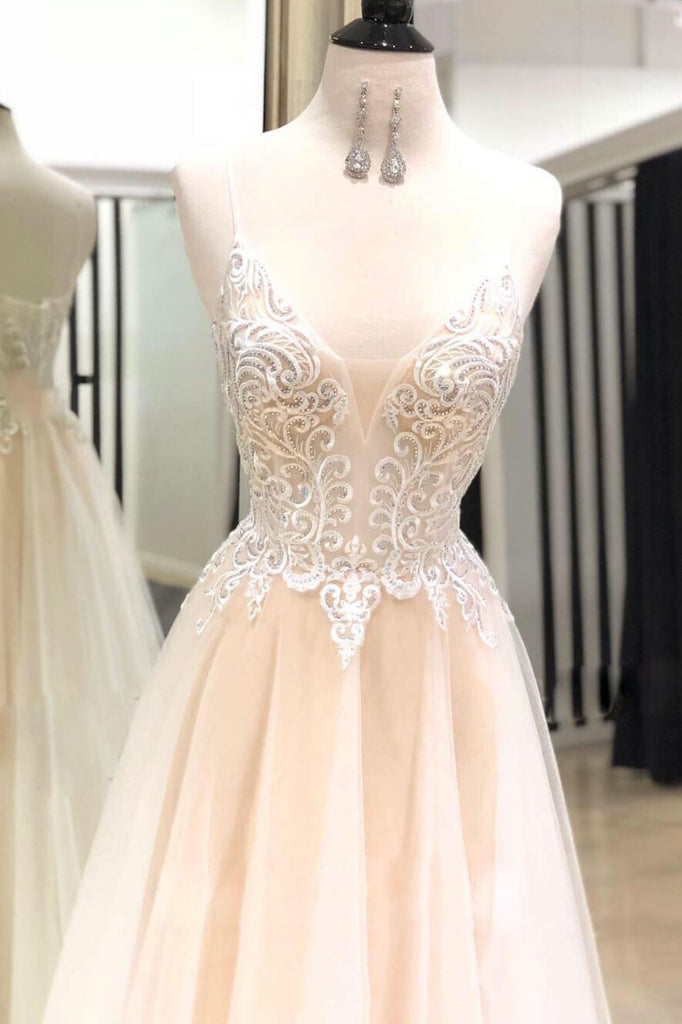 Light champagne sweetheart neck tulle lace long prom dress