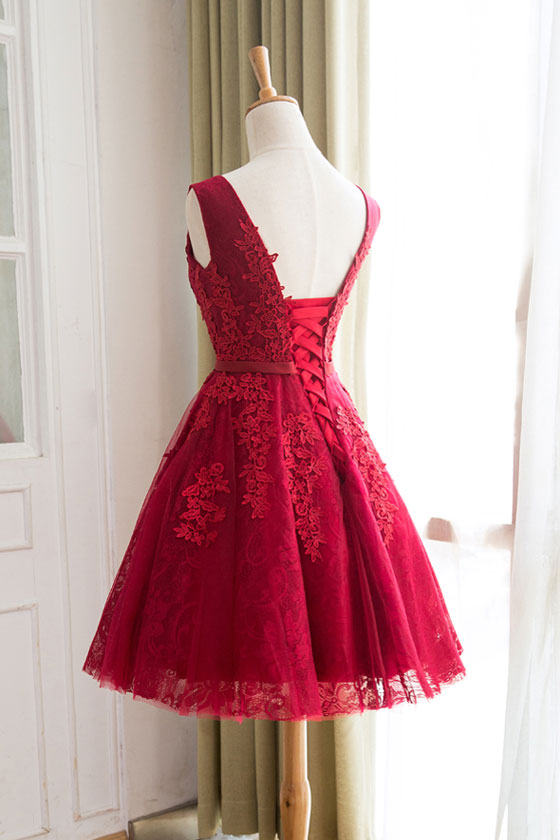 44c3446f017 Burgundy lace tulle short prom dress