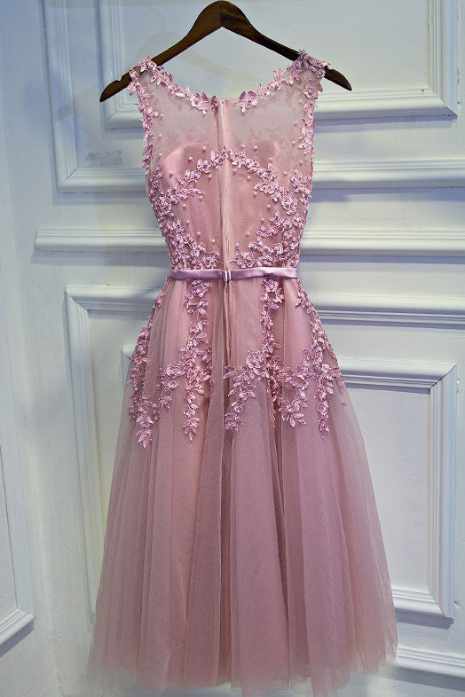 35be9690d1fe Pink lace tulle short prom dress, pink homecoming dress - dresstby