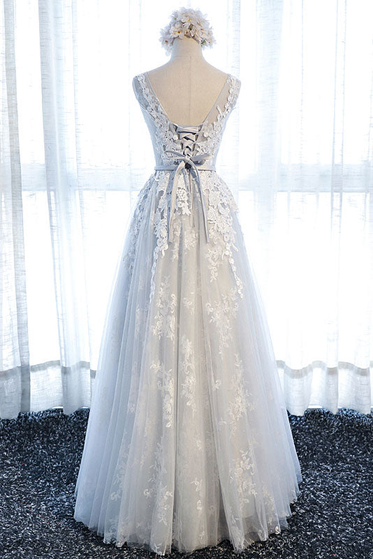 Gray round neck tulle lace applique long prom dress