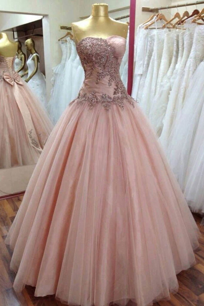 Pink sweetheart tulle lace sequin long prom dress, pink evening dress