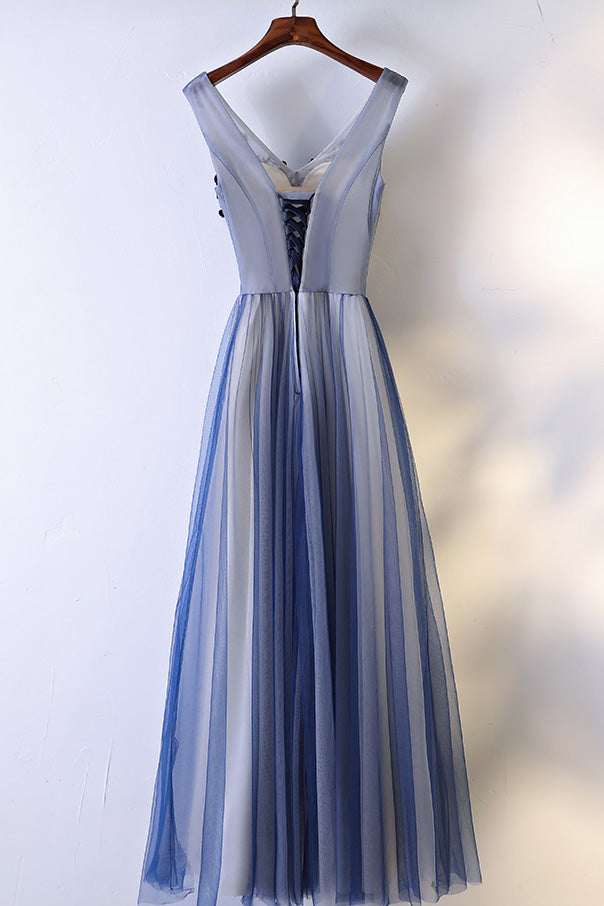 Unique v neck lace applique blue long prom dress, evening dress