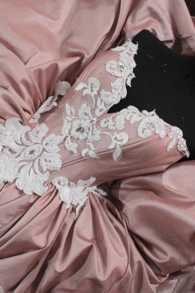 Unique pink lace long prom gown, pink evening dress