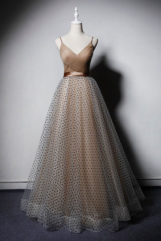 Champagne v neck tulle long prom dress, champagne tulle evening dress