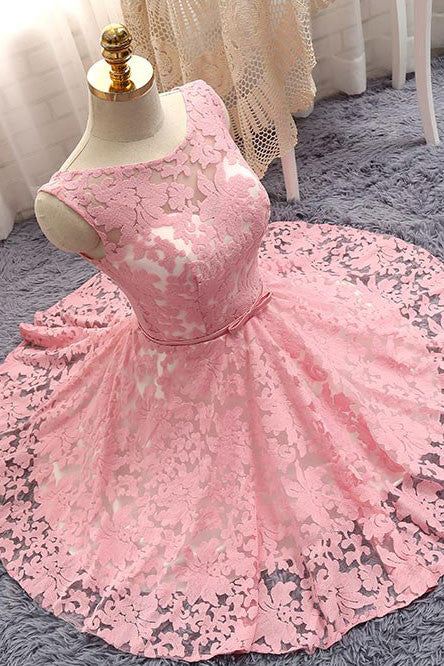 Cute pink round neck lace short prom dress, bridesmaid dress