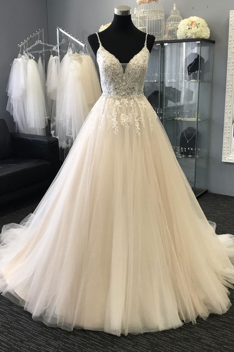 4ec37aa62 Light champagne v neck tulle lace applique long prom dress, tulle even -  dresstby
