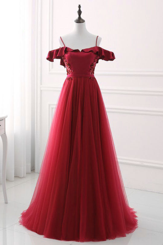 Burgundy sweetheart neck tulle long prom dress, burgundy evening dress