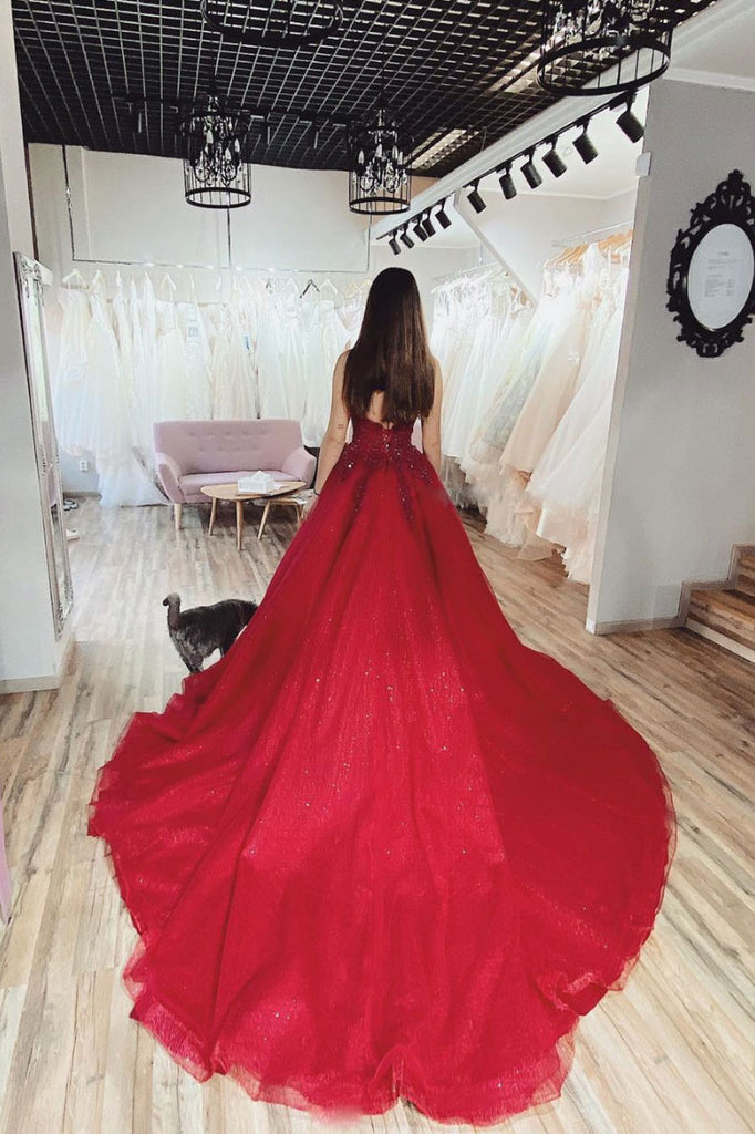Burgundy v neck tulle lace long prom dress burgundy tulle formal dress